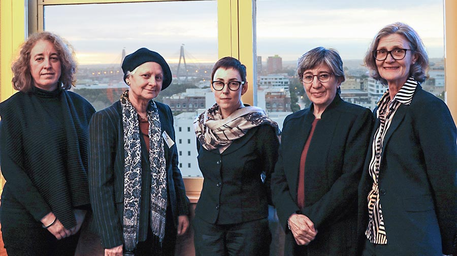 Dr Sima Samar (second right) with, from the left, Professor Ana Vrdoljak (Faculty of Law), Associate Professor Nina Burridge, Associate Dean (Teaching & Learning) in Arts and Social Sciences Professor Maryanne Dever and Associate Professor Bronwyn Olliffe