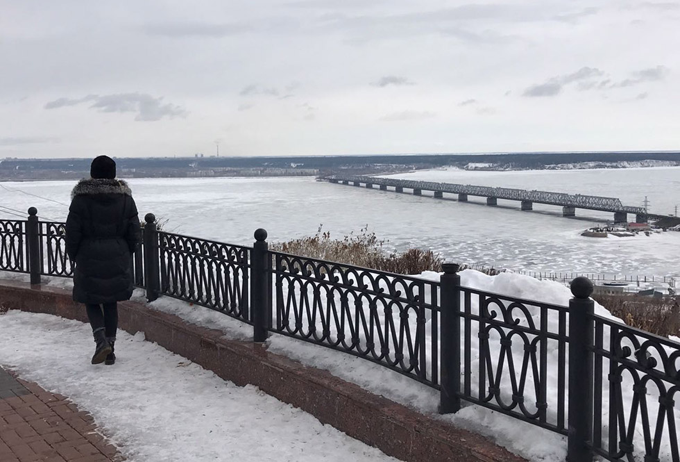 The Volga River, the largest river in Europe, flowing past Ulyanovsk, Russia