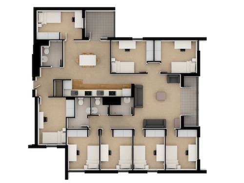8 Bedroom Apartment. Floor Plan