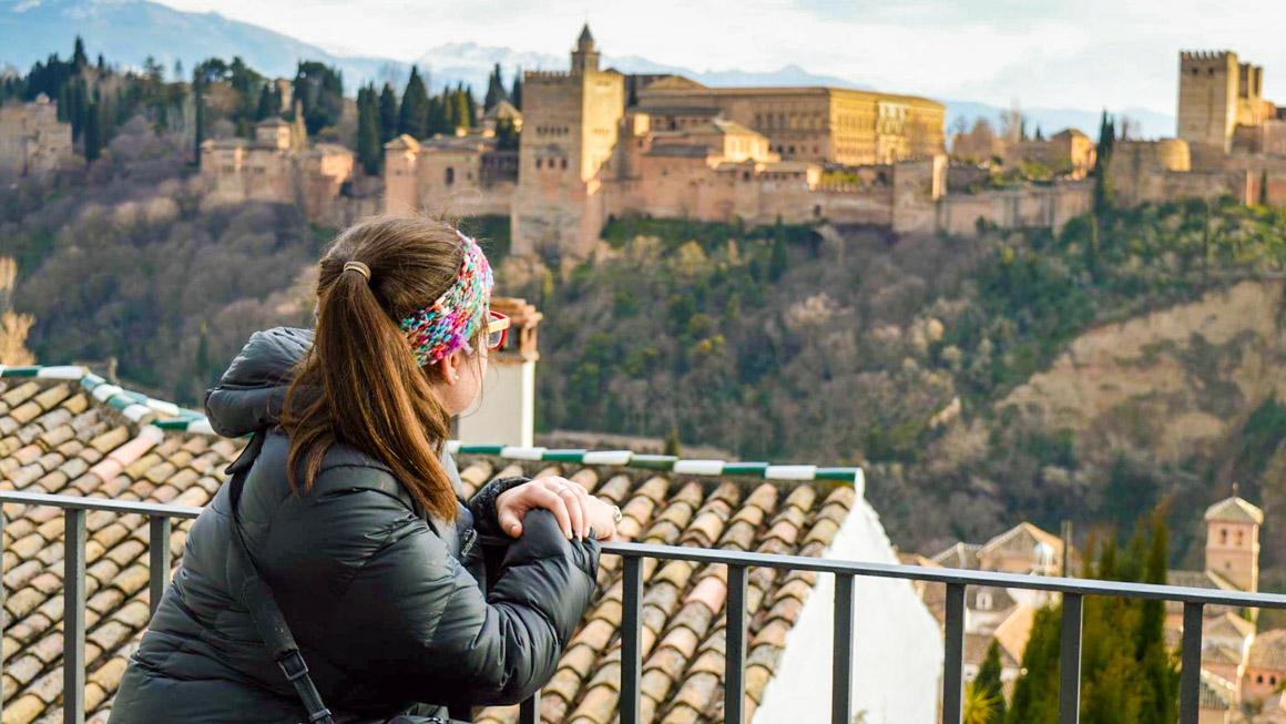 UTS student looking out over a town in Spain