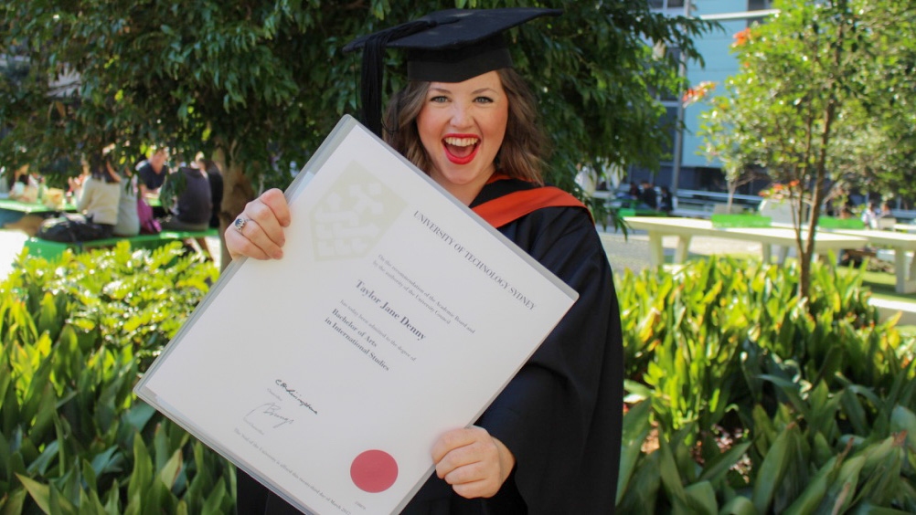 UTS:International Studies student celebrating graduation