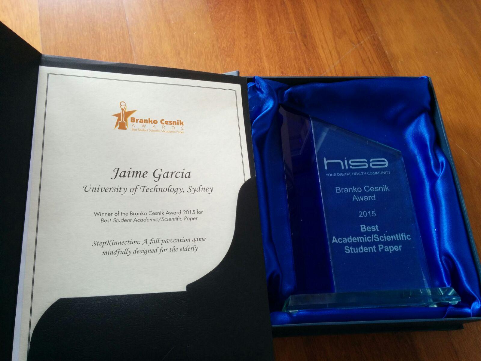 Jaime Garcia's award and trophy