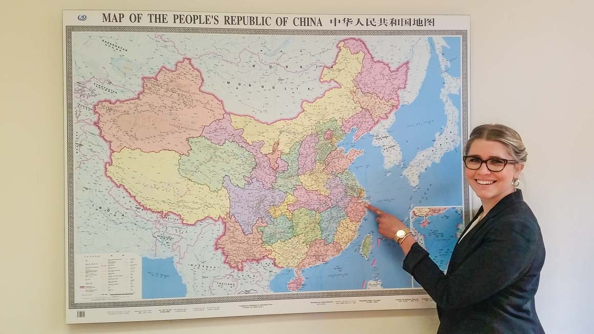 Katya pointing to the location of her UTS exchange experience in Ningbo, China