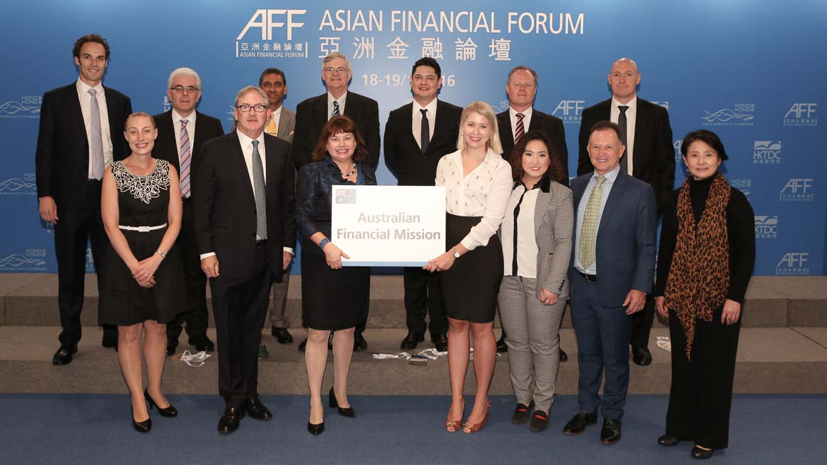 Photo of UTS student Katya Dobinson when she was in Hong Kong in January 2016 for the annual 'Invest in Australia' Mission Think Global organises to the Asian Financial Forum