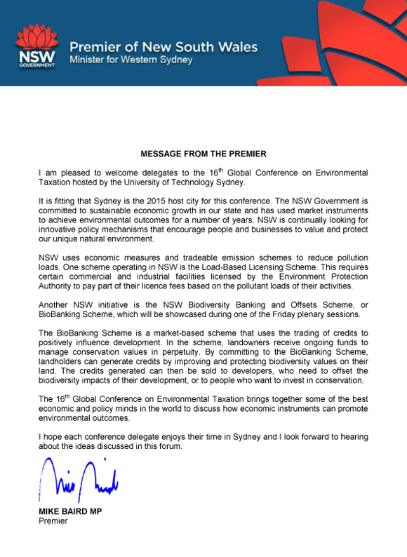 Premier's welcome letter