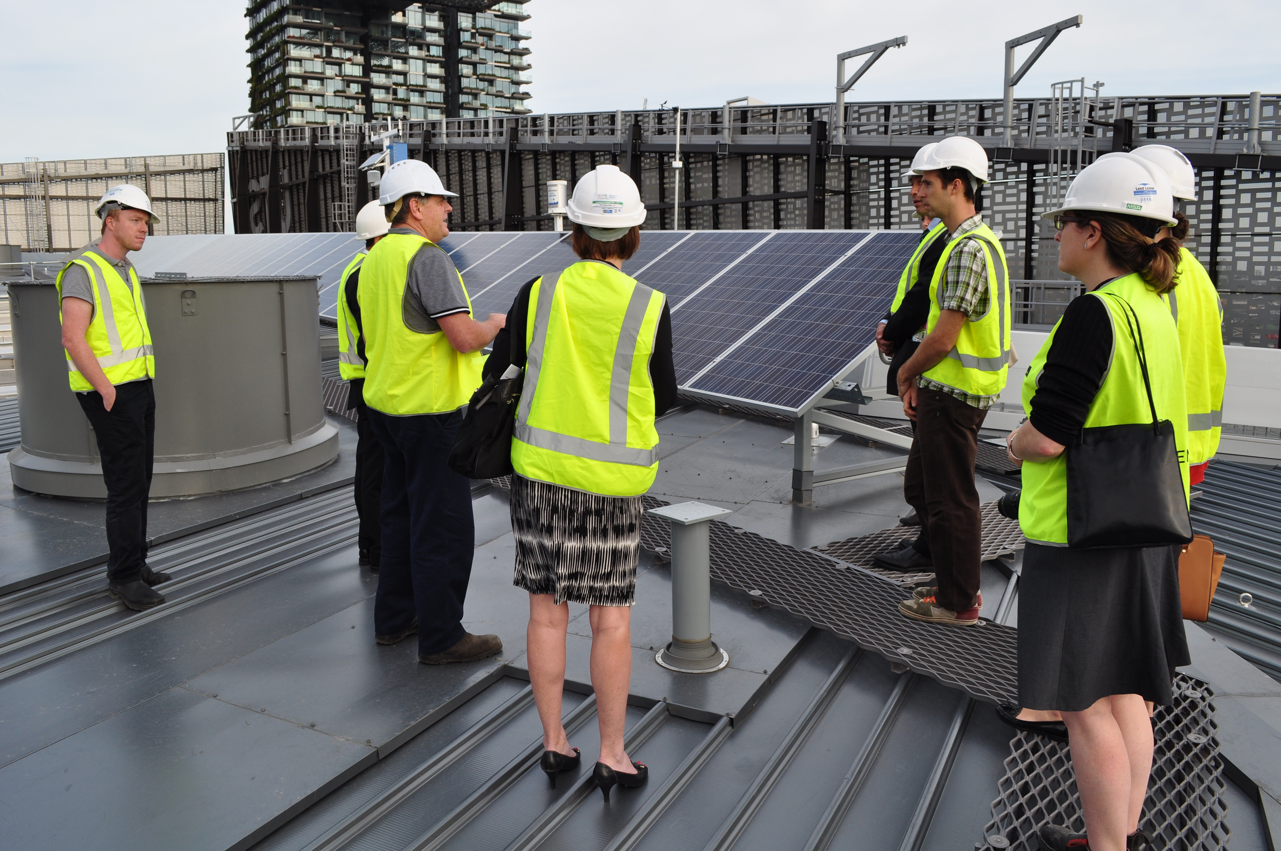 World Bank learn more about the solar renewable technology on the roof of the UTS Engineering and IT Building