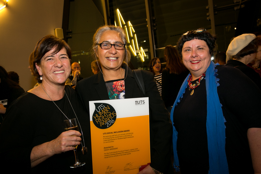 Deputy Vice Chancellor Anne Dwyer, Daisy Amanaki and Jo Tilly