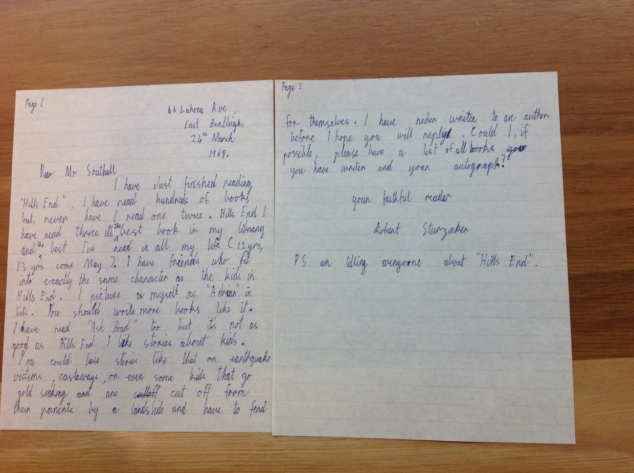 Letter to Ivan Southall