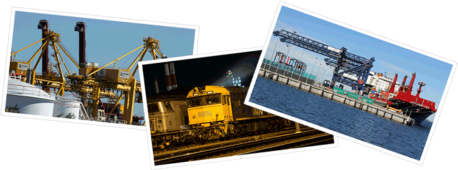 Collage of three photos showing Port Botany equipment and facilities