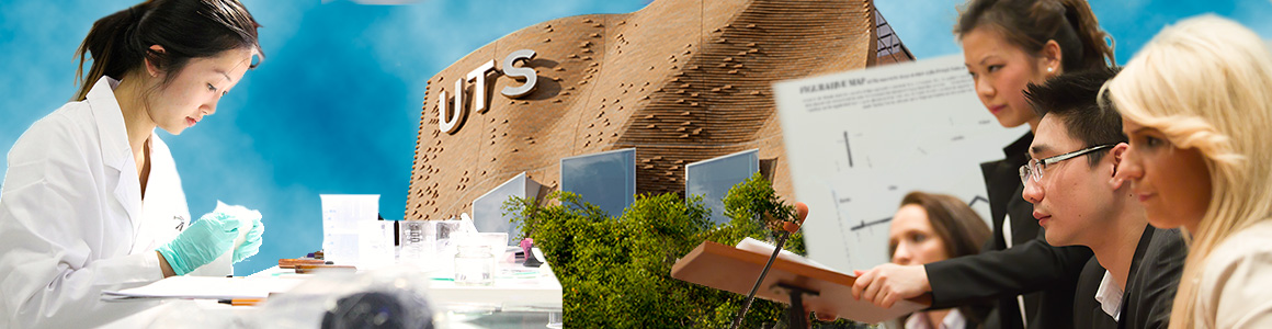 Banner image showing research activities at UTS