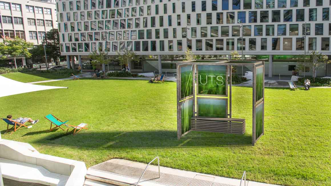 An artist's impression of the algae panel installation proposed for UTS's Alumni Green.