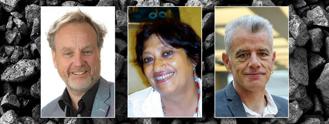 Photos of James Goodman, Devleena Ghosh and Tom Morton, with a background photo of coal