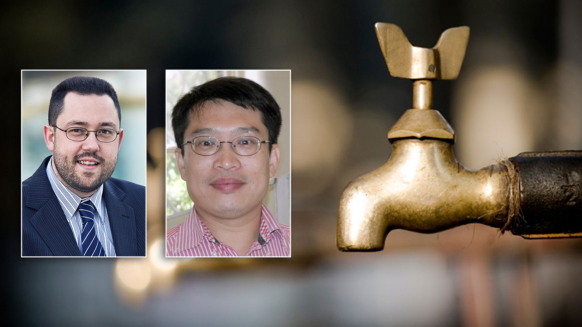Photos of Michael Blumenstein and Jinyan Li, with a background image of water taps
