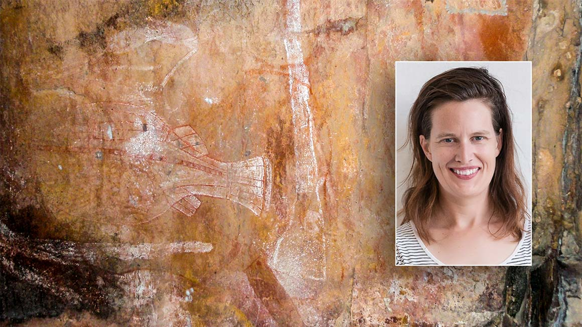 Photo of Indigenous rock painting from Kakadu, with inset photo of Anna Clark