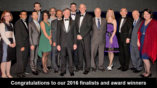 Photo of the winners and finalists at the 2016 UTS Vice Chancellor's Awards for Research Excellence