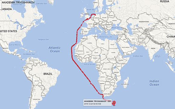 Map showing ACE Leg Zero voyage path from Bremerhaven to Capetown