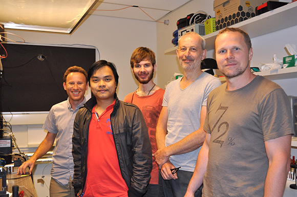 Igor Aharonovich, Trong Toan Tran, Kerem Bray, Mike Ford and Milos Toth in the Microstructural Analysis Unit at UTS Science