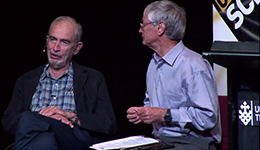 Dick Smith and Paul Ehrlich discussing growth at a public lecture