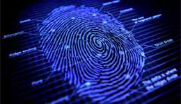 A digital scan of a fingerprint with datapoints