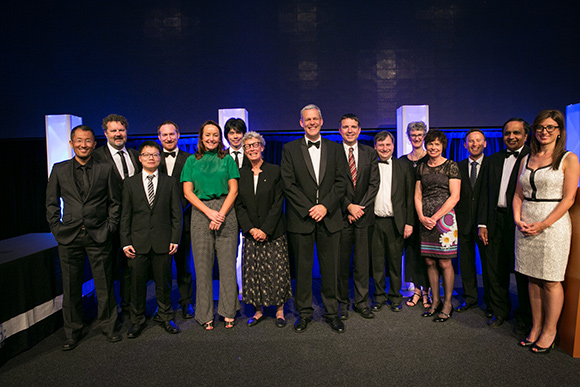 Group shot of award winners with UTS Chancellor, Professor Vicki Sara AO and Deputy Vice-Chancellor and Vice-President (Research), Professor Glenn Wightwick