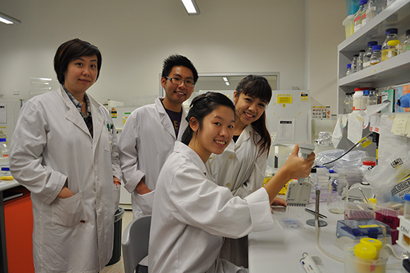 Left to right: Jaye Lu, Andrew Liew, Erica Lee and Christel Leong (seated)
