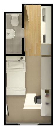 Standard (small) Studio Apartment. Floor Plan