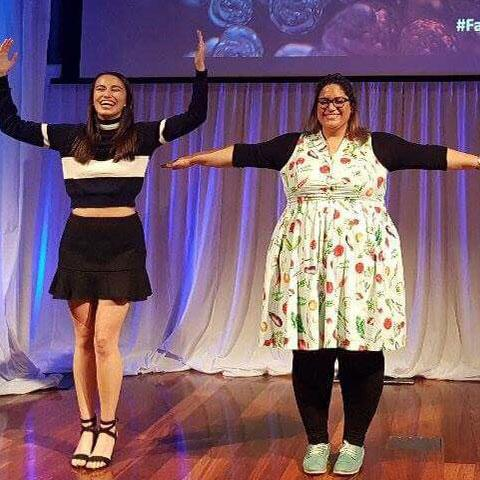 Naomi Koh Belic and Dr Nural Cokcetin at the FameLab finals in Western Australia.