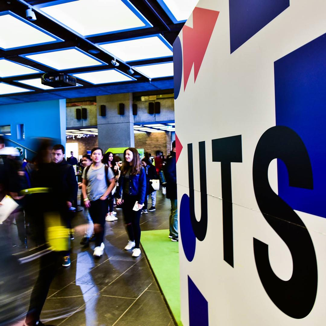 uts signage and students