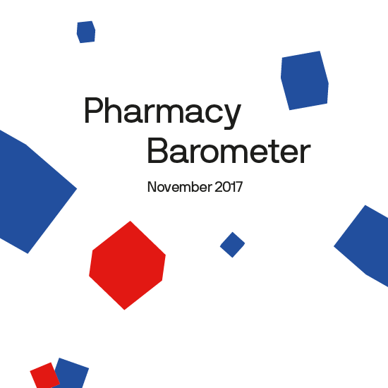 Cover of Pharmacy Barometer report. Text: Pharmacy Barometer November 2017