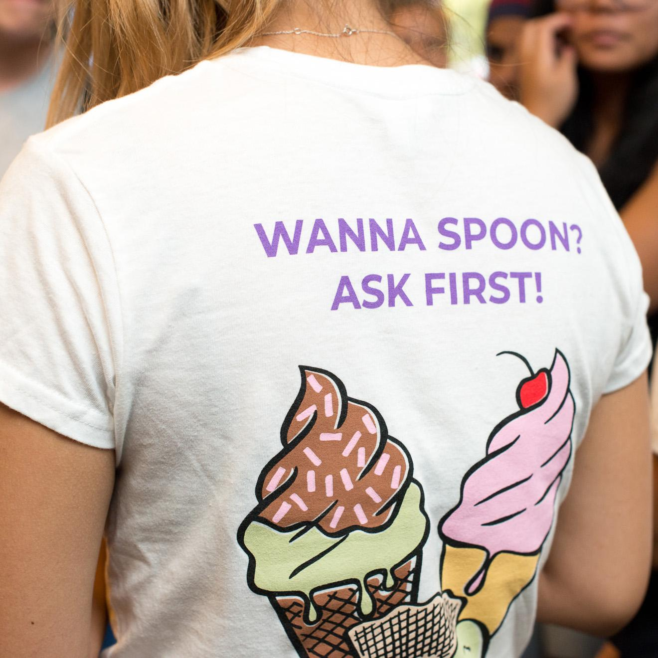 Icecream line drawing t-shirt. Text: Wanna Spoon? Ask first!