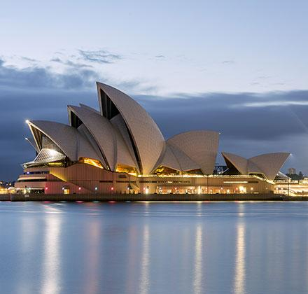 Sydney Opera House with lights on