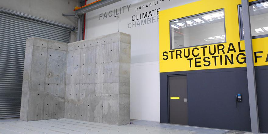 Inside UTS Tech Lab, looking towards the vertical strong reaction wall. Image: Amos Wong