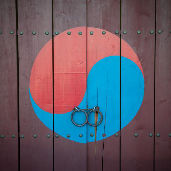 Korean Taegeuk symbol painted on a door