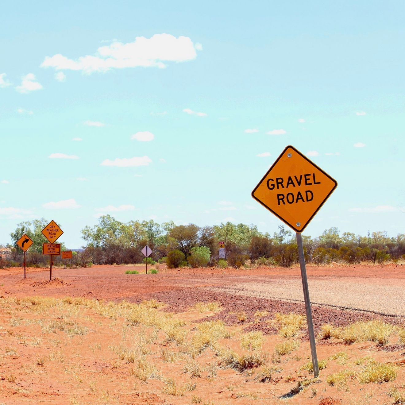 """Gravel Road"" sign on outback dirt road"