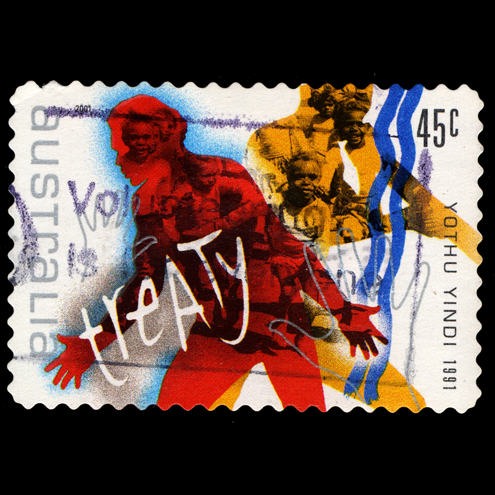 A 45 cent postage stamp featuring Yothu Yindi's Treaty song