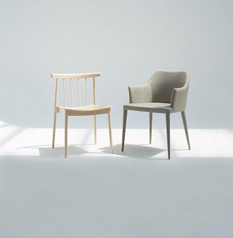 Two empty chairs facing each other