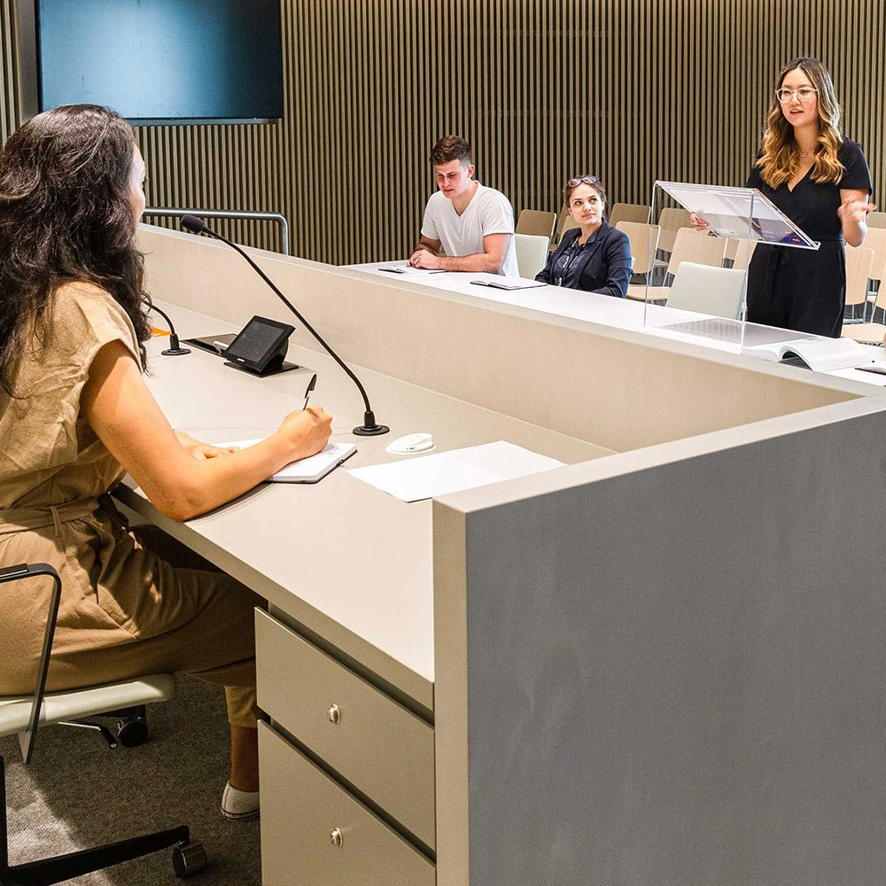 Law students in a moot court