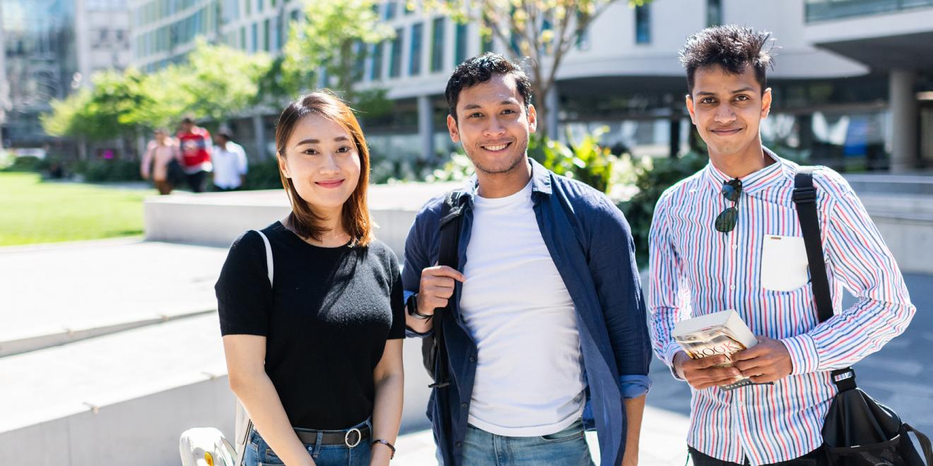 International students on the campus