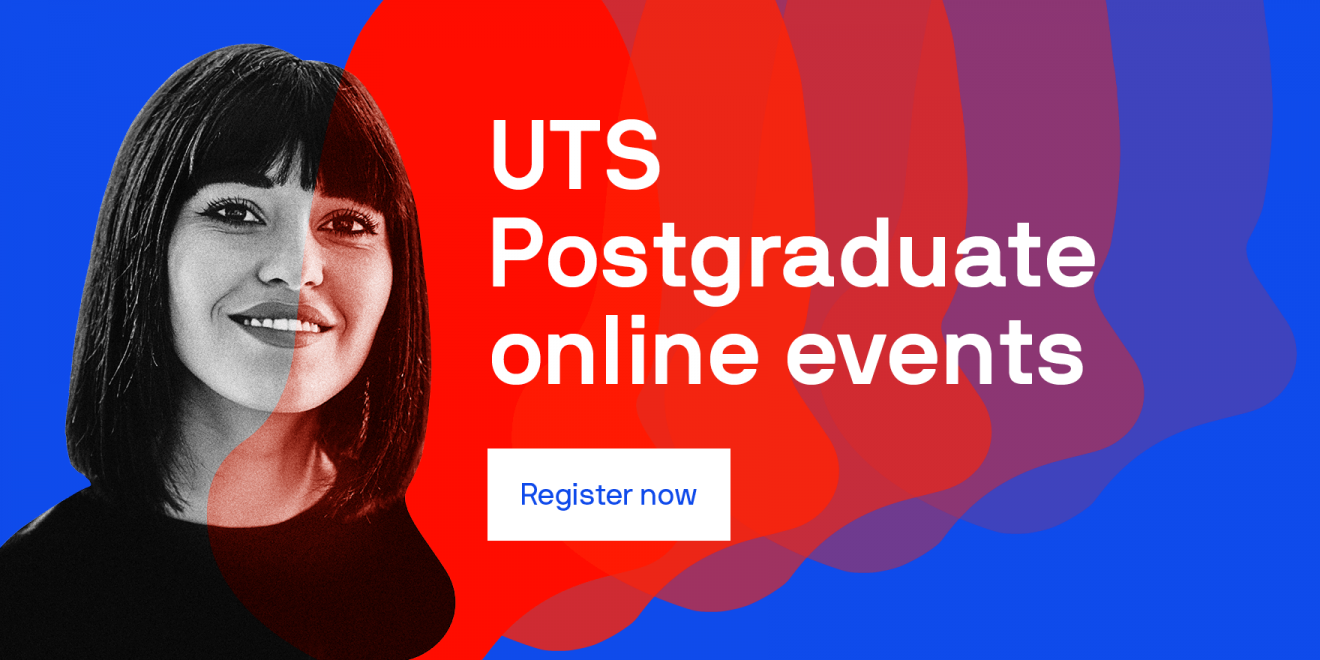 postgraduate female student featured in blue and red background