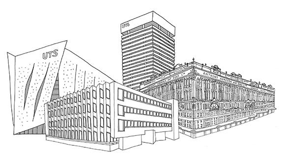 Illustration of UTS and NSWIT buildings