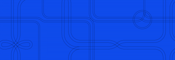 Blue background with black curving lines traversing from top to bottom and side-to-side
