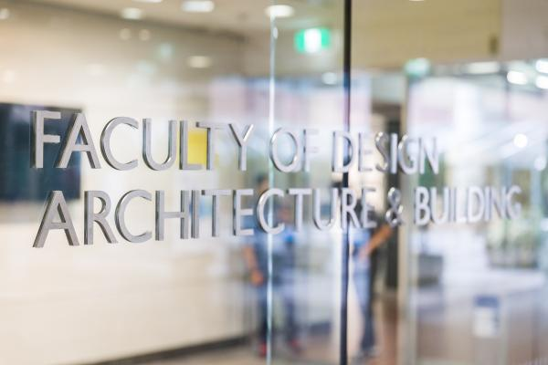 Faculty of Design, Architecture & Building glass signage