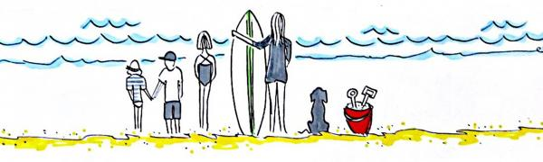 Cartoon drawing of a family standing on a sandy beach looking at the ocean