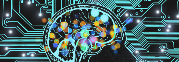 illustration of side view of brain with a layer of colourful lights in the brain region. Behind is a circuit overlay with several bright lights