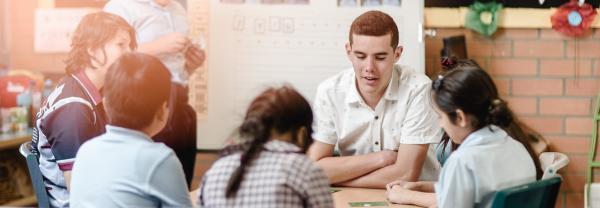 Trainer teacher in a classroom setting