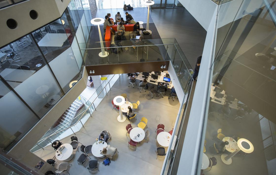Birds eye view of students spaces in Building 11