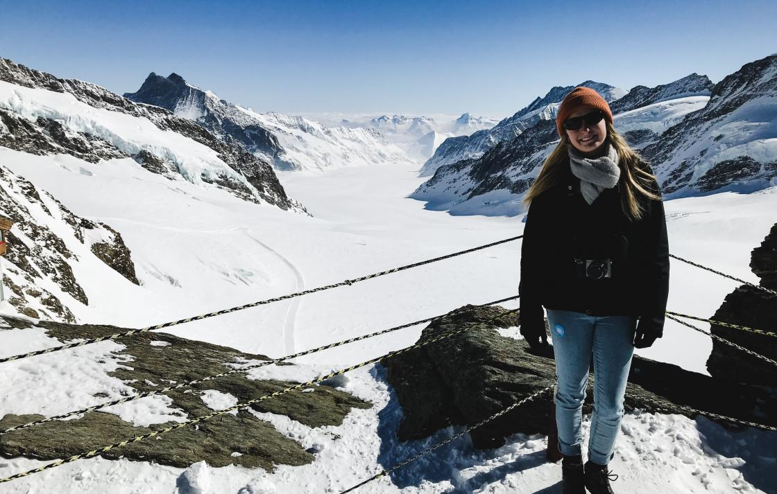 Photo of Kristen on a snowy mountain