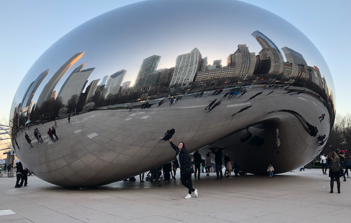 Sahara in front of Cloud Gate sculpture in Chicago