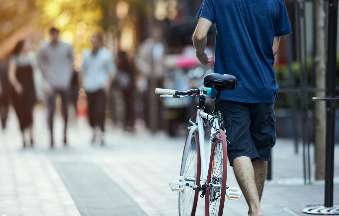 UTS cyclist in Spice Alley