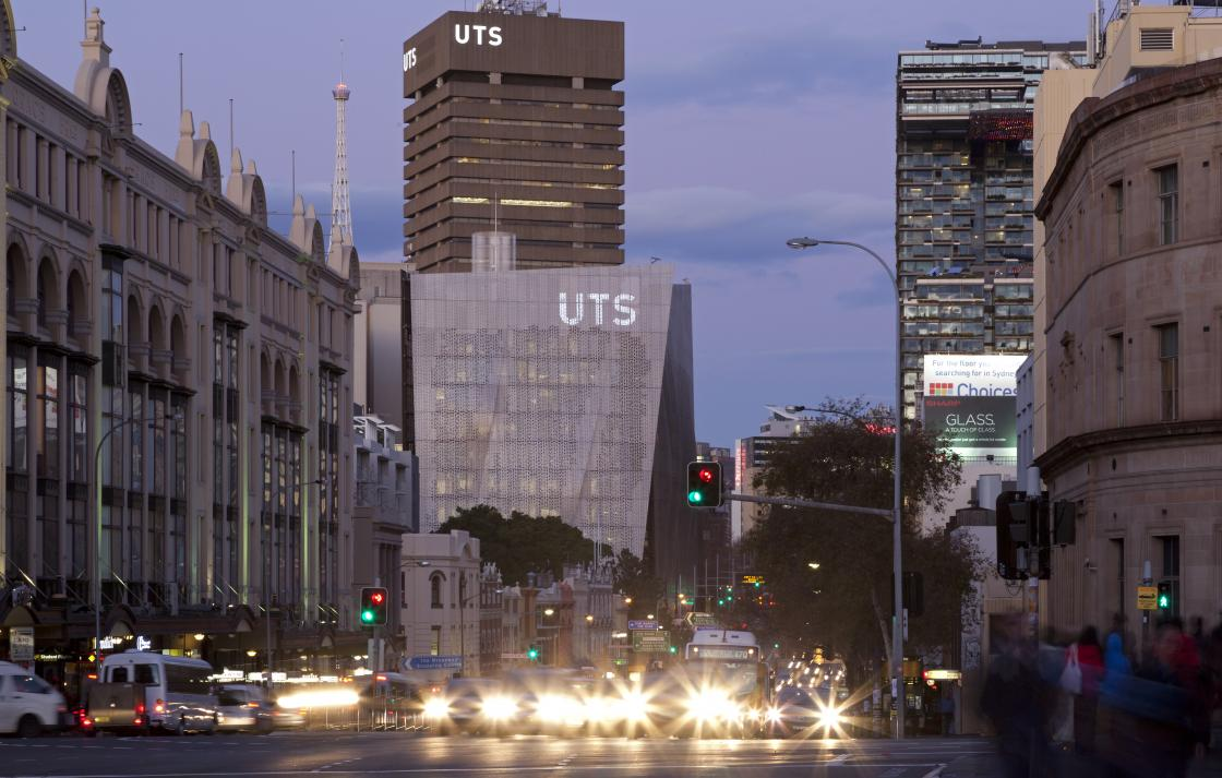 UTS campus from Broadway at night